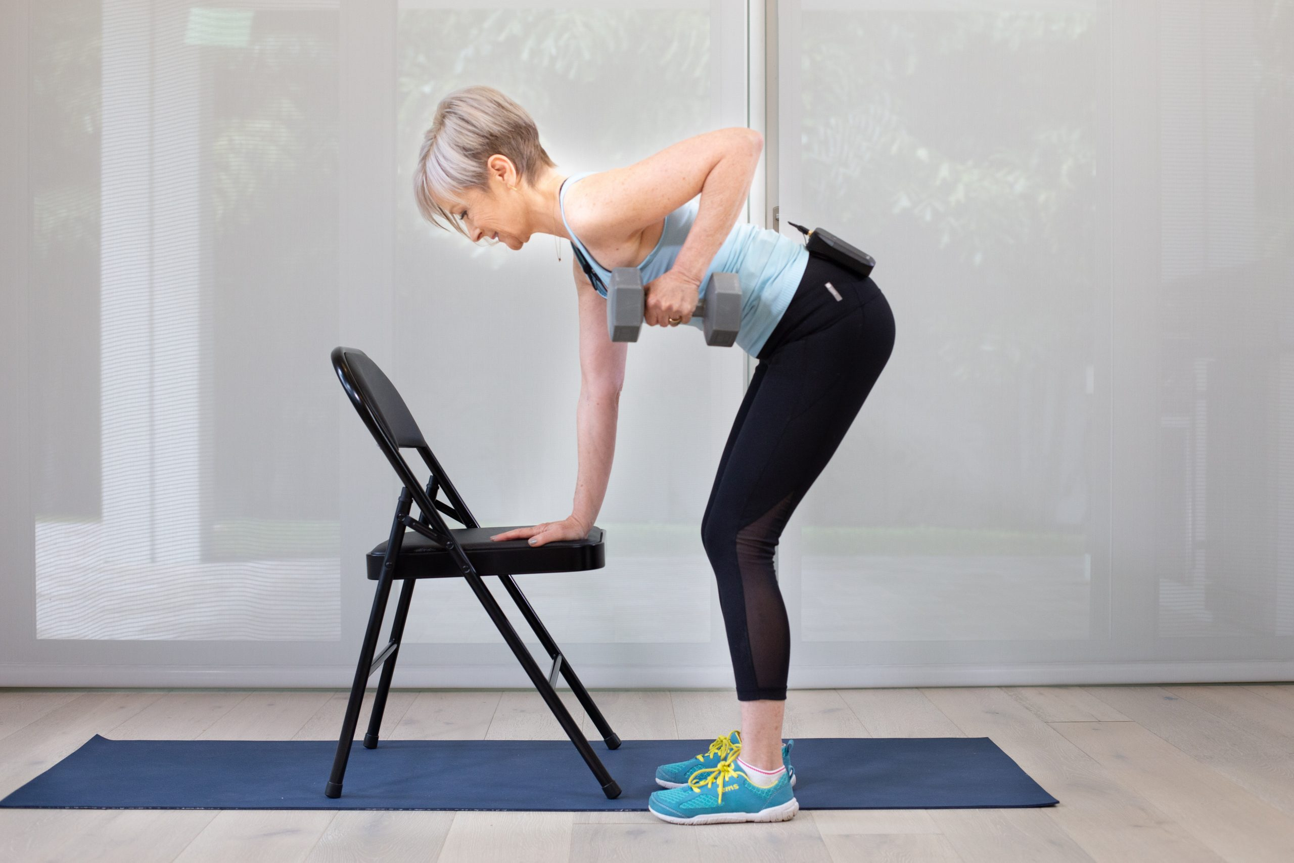 this is an image of Sarah Purcell doing effective chair exercise